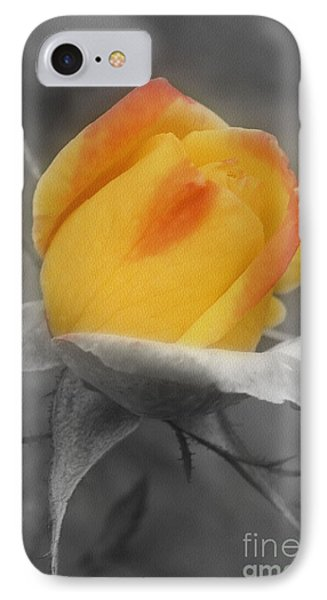 Yellow Rosebud Partial Color IPhone Case by Smilin Eyes  Treasures