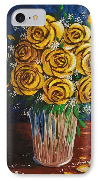 IPhone Case featuring the painting Yellow Roses by Katherine Young-Beck