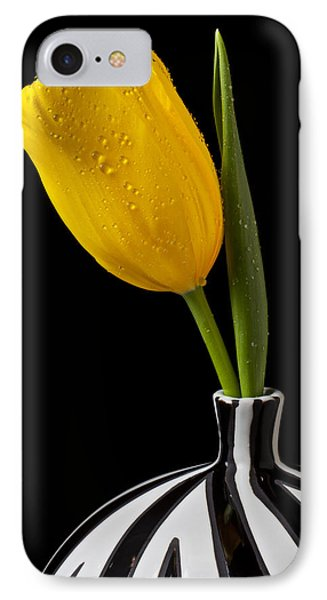 Yellow Tulip In Striped Vase Phone Case by Garry Gay
