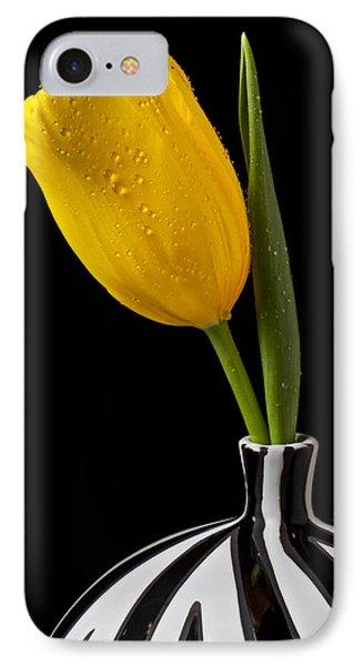 Yellow Tulip In Striped Vase IPhone Case