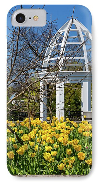 Yellow Tulips And Gazebo IPhone Case by Tom Mc Nemar