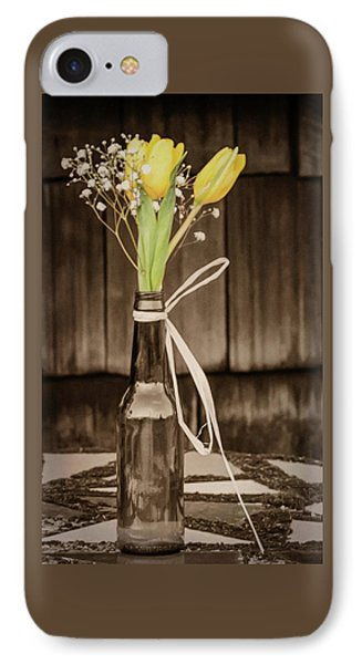 Yellow Tulips In Glass Bottle Sepia IPhone Case by Terry DeLuco