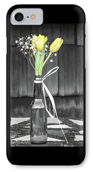 Yellow Tulips In Glass Bottle IPhone Case by Terry DeLuco