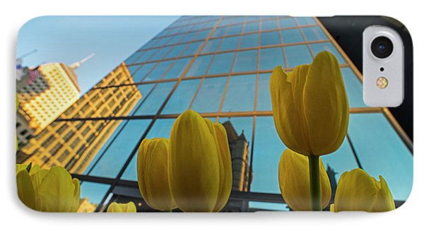 Yellow Tulips Looking Up At The Hancock Boston Ma IPhone Case