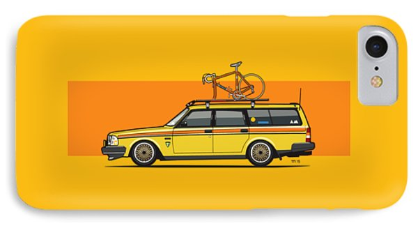 Yellow Volvo 245 Wagon With Roof Rack And Vintage Bicycle IPhone Case