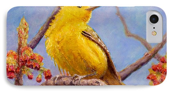 IPhone Case featuring the painting Yellow Warbler by Joe Bergholm