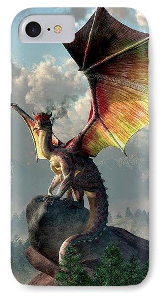 Yellow Winged Dragon IPhone Case by Daniel Eskridge