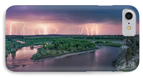 Yellowstone River Lightning IPhone Case by Leland D Howard
