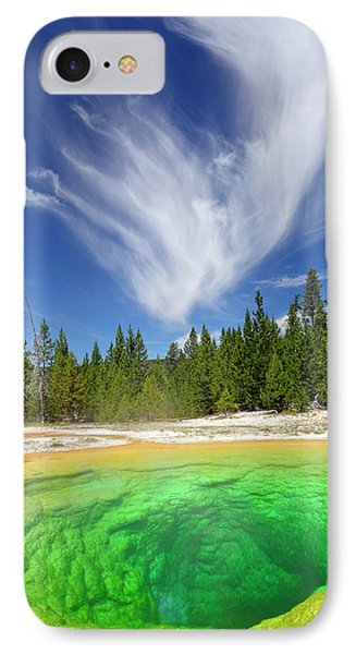 Yellowstone's Morning Glory Pool Pool And Awesome Clouds IPhone Case