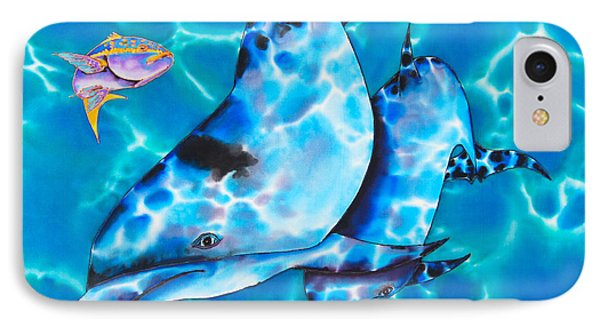 Yellowtail Snapper And  Dolphins Phone Case by Daniel Jean-Baptiste