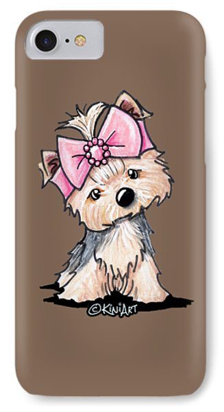 Yorkie In Bow IPhone Case by Kim Niles