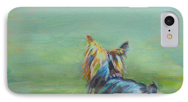 Yorkie In The Grass IPhone Case by Kimberly Santini