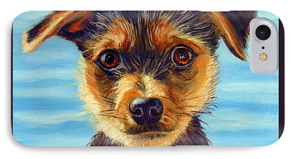 Yorkie Little Swimmer IPhone Case by Lyn Cook