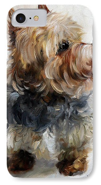 Yorkie IPhone Case by Mary Sparrow