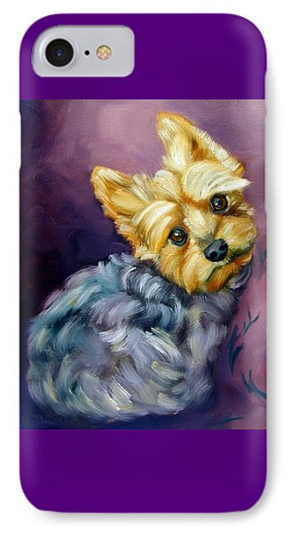 Yorkshire Terrier Yorkie Snuggles IPhone Case by Lyn Cook