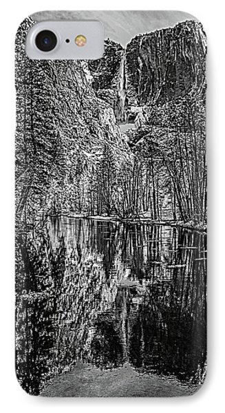 IPhone Case featuring the photograph Yosemite Falls From The Swinging Bridge In Black And White by Bill Gallagher