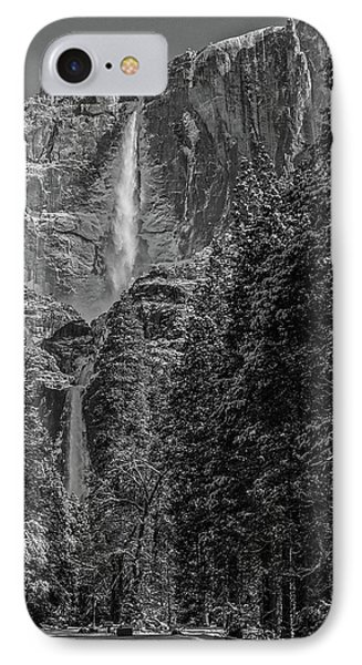 Yosemite Falls In Black And White IIi IPhone Case by Bill Gallagher