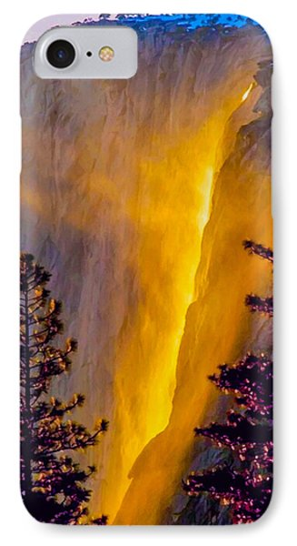 Yosemite Firefall Painting IPhone Case by Dr Bob Johnston