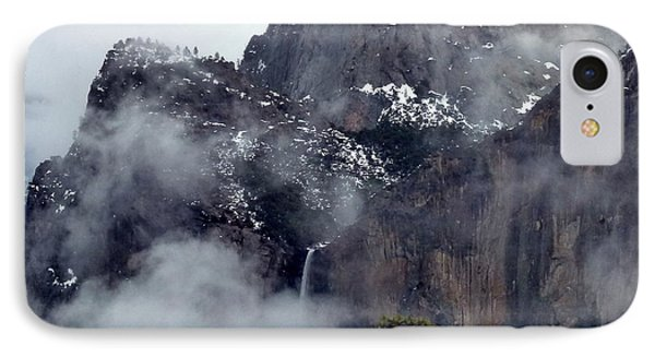 Yosemite Snowy Bridalveil Falls  IPhone Case by Jeff Lowe