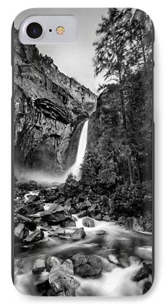 Yosemite National Park iPhone 7 Case - Yosemite Waterfall Bw by Az Jackson