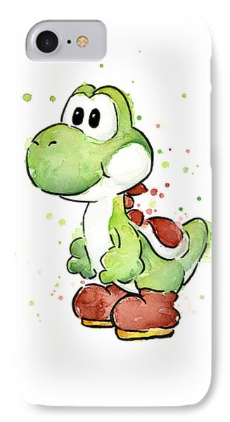 Dinosaur iPhone 7 Case - Yoshi Watercolor by Olga Shvartsur