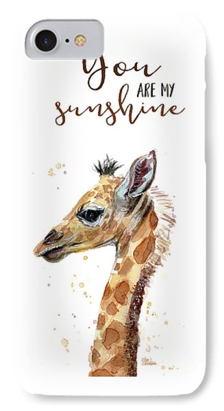 You Are My Sunshine Giraffe IPhone Case by Olga Shvartsur