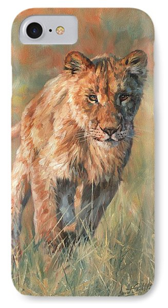 IPhone Case featuring the painting Youn Lion by David Stribbling