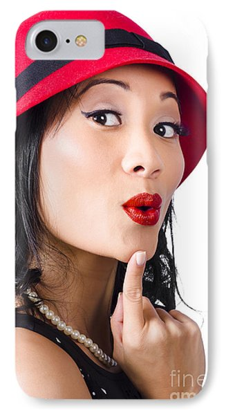 Young Asian Girl With Surprised Expression  IPhone Case by Jorgo Photography - Wall Art Gallery