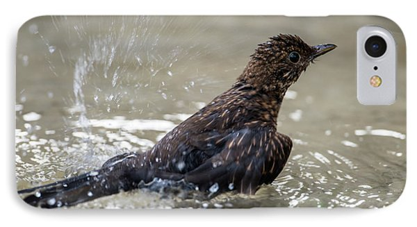 IPhone Case featuring the photograph Young Blackbird's Bath by Torbjorn Swenelius