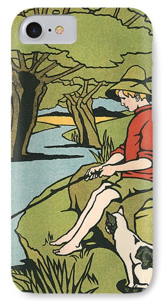 Young Boy Sitting On A Log Fishing In A Small River In The Country With His Cat IPhone Case
