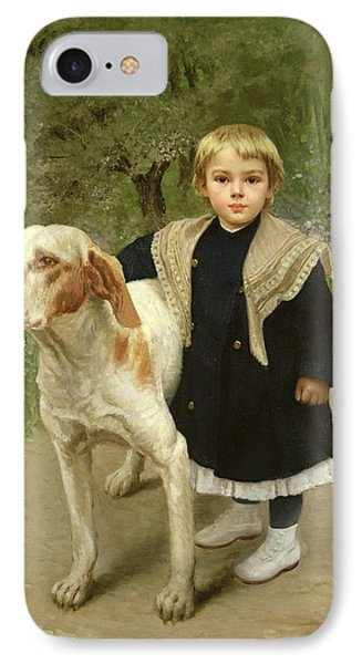 Young Child And A Big Dog IPhone Case by Luigi Toro