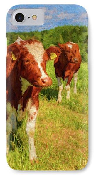 Young Cows IPhone Case by Veikko Suikkanen
