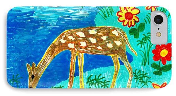 Young Deer Drinking Phone Case by Sushila Burgess