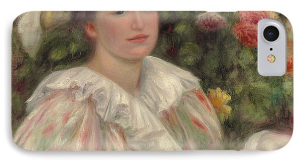 Young Girl Amongst Flowers Or Woman With White Hat IPhone Case