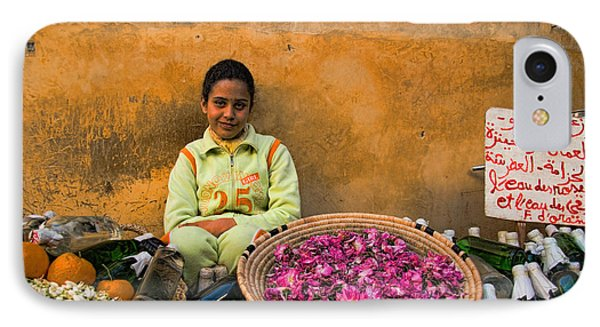 Young Girl Selling Rose Petals In The Medina Of Fes Morroco IPhone Case