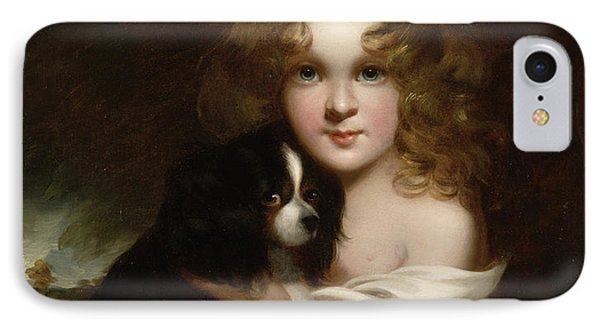 Young Girl With A Dog IPhone Case by Margaret Sarah Carpenter
