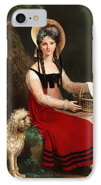 Young Girl With Poodle On A Grassy Bank IPhone Case