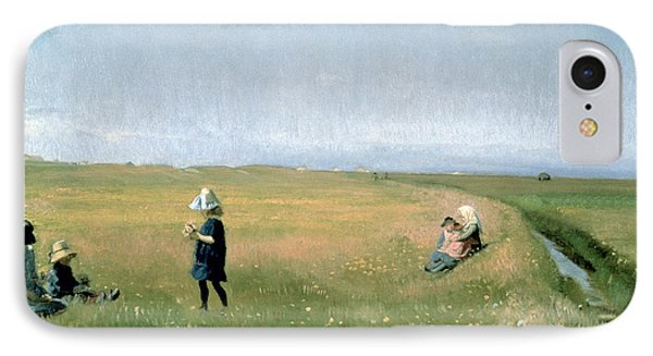 Young Girls Picking Flowers In A Meadow Phone Case by Michael Peter Ancher