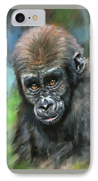 Young Gorilla IPhone Case by David Stribbling