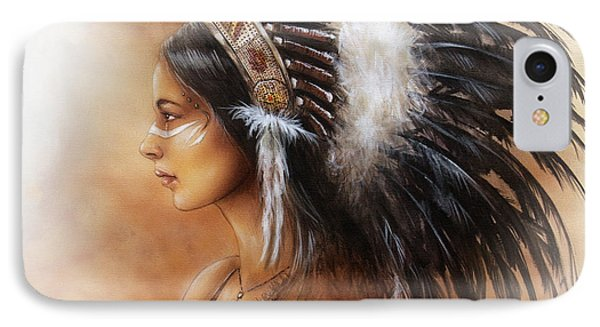 Young Indian Woman Wearing A Big Feather Headdress A Profile Portrait On Structured Abstract IPhone Case by Jozef Klopacka