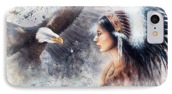 Young Indian Woman Wearing A Gorgeous Feather Headdress. With An Image  Eagle Spirits IPhone Case