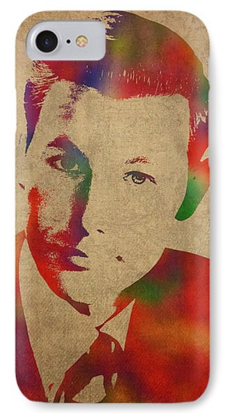 Johnny Carson iPhone 7 Case - Young Johnny Carson Watercolor Portrait by Design Turnpike