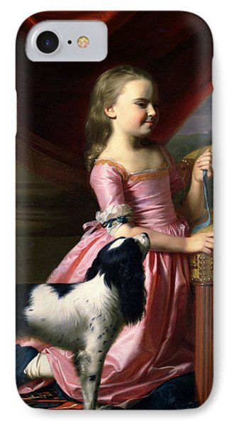 Young Lady With A Bird And A Dog IPhone Case