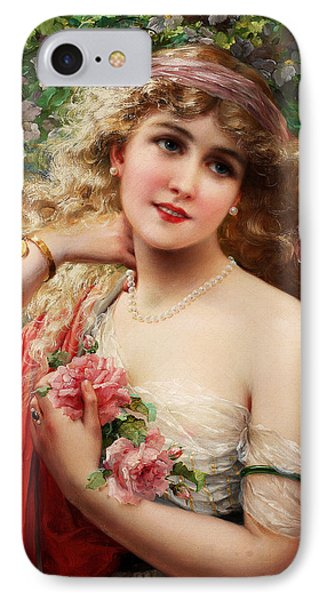 Young Lady With Roses IPhone Case