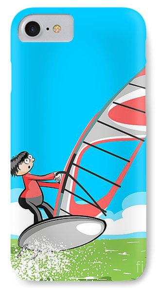 Young Man Doing Windsurfing On A Beautiful Clear Morning IPhone Case
