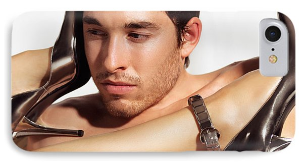 Young Man Face And Woman Legs Phone Case by Oleksiy Maksymenko