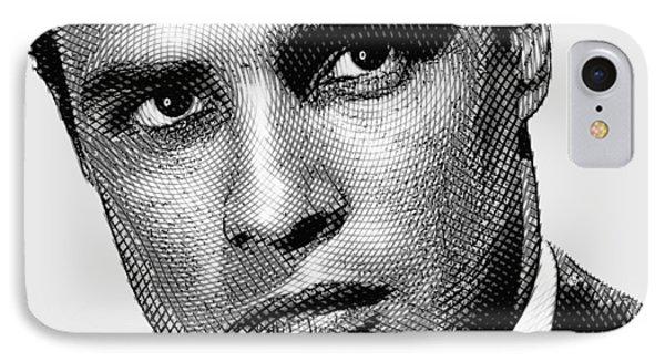 Young Marlon Brando Etching Black Gray IPhone Case by Tony Rubino