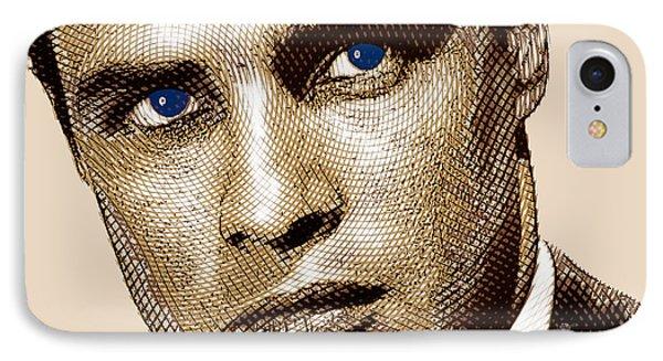 Young Marlon Brando Etching Sepia Gold IPhone Case by Tony Rubino