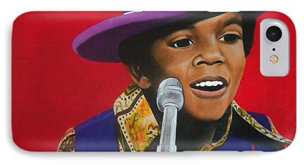 Young Michael Jackson Singing IPhone Case by Chelle Brantley