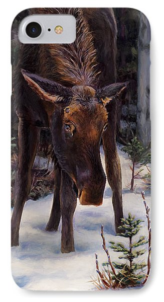 Young Moose And Pussy Willows Springtime In Alaska Wildlife Painting IPhone Case